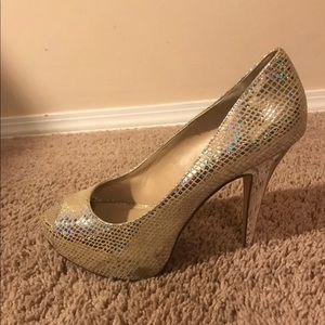 INC Metallic Peeptoe Heels